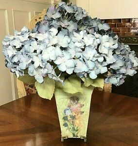 Artificial Silk Flower Arrangement Hydrangeas in Shades of Blue, Floral Planter