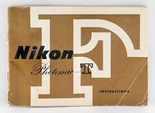 NIKON F PHOTOMIC T VERY EARLY ORIGINAL INSTRUCTION MANUAL IN ENGLISH.