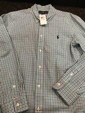 NWT Ralph Lauren Long Sleeved Blue / Green Plaid Dress Shirt, Boys Size XL 18-20