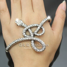 Egyptian Cleopatra Snake Crystal Hand Palm Stretch Bracelet Bangle Cuff Ring H8