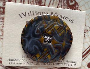 Handmade William Morris .Ceramic celtic button brown design