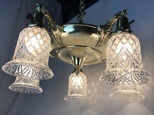 Antique Vtg Chandelier Arts Craft Deco Victorian Hanging Pan Light Brass Crystal