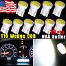 10pcs 6000K White T10 194 192 COB LED Dome Map License Plate Dash Light Bulbs