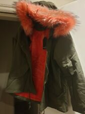 WOMENS NEW  FAUX FUR HOODED  WARM FLEECED LINED PARKA COAT  SIZE 16 BNWT