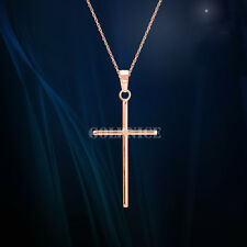 100% 925 Sterling Silver Small Cross Pendant Necklace Charm Rose Gold Finish