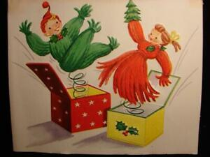 "VINTAGE ""YARN COUPLE MUSIC BOXES!!"" CHRISTMAS GREETING CARD"