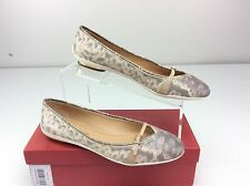 SALVATORE FERRAGAMO AUDREY Luxury Roccia Calf Ballet Flat Slip On Buckled 8.5
