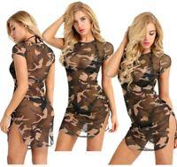 Women Camouflage Short Sleeve See Through Mini Dress Mesh Party Club T-Shirt Top