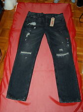 NWT LEVI'S 511 SLIM mens  black washed distressed black jeans size 38 x 32 $79.5