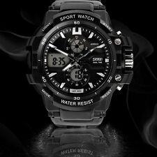 Outdoor Sport Digital Stopwatch Mens waterproof Rubber Quartz wrist Watch Silver