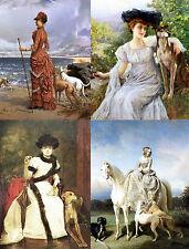 Ladies + Greyhound Dogs Art Notecards Set of 4 w/env