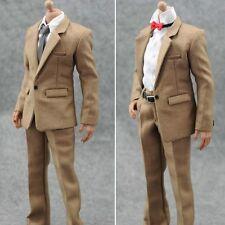 """1/6 Khaki Suit Pants White Shirt Tie Clothes Set Fit 12"""" Hot Toys Action Figure"""