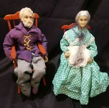 Pair Antique Wax & Cloth Dolls-Old Man & Woman in Rocking Chair