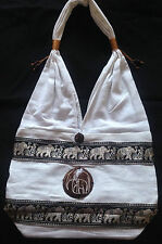 THAI HIPPIE HIPPY BAG EMBROIDERED ELEPHANT HOBO SHOULDER PURSE - LARGE