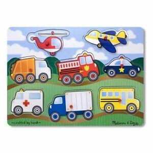 Melissa & Doug Wooden Peg Puzzle Vehicles Bus Police Car Ambulance Helicop 8 pc