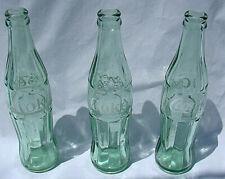 3  X GREEN GLASS COKE BOTTLES 10 FL AUSTRALIAN STOCK