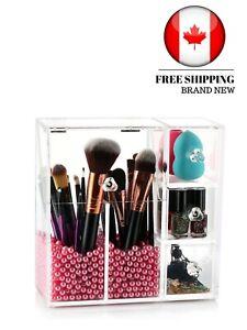Makeup Brush Holder Organizer, HBlife Acrylic Makeup Organizer with 2 Brush Hold