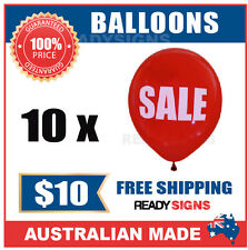 SALE - Double Sided Red Balloons - Printed White Text - Pack of 10