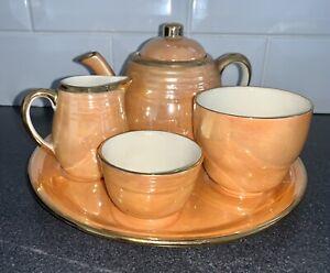 Charming Royal Norfolk Bachelors Tea Set Peach Lustre Ware 5 Pieces Early 1900's