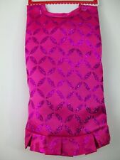 "Pink Satin Glitter Mini 18"" Christmas Tree Skirt Holiday Miniature Ugly Sweater"
