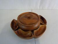 """VINTAGE TEAK WOOD 7.5"""" Bowl & 4"""" Side Dishes (HKR54-416)"""
