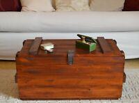 Tavolino da salotto caffè in legno color Noce Cassapanca Vintage Cassa Militare