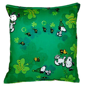 Snoopy Pillow Charlie Brown Irish Snoopy Made in USA RARE Discontinues Design