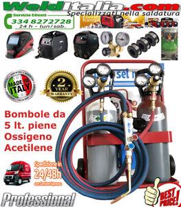 BOMBOLE SALDATURA AUTOGENA KIT CANNELLO OSSIGENO ACETILENE 5 LT. CARRELLO PIENE
