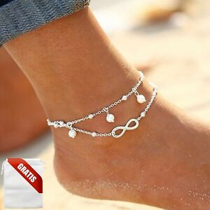 Fußkettchen Damen Infinity Weiße Perlen Silber Unendlichkeit Fußkette Fusskette