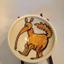 Flying Hippo Pottery Jean Foss 1997 Bowl Eugene Or ant eater Mod Retro .signed