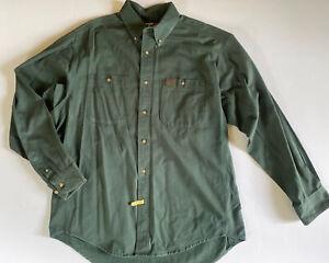Men's Wrangler Riggs Workwear Shirt Long Sleeve Dark Green Size XL