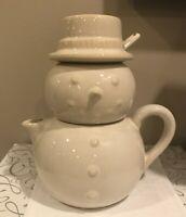 Creamer and Sugar Bowl Snowman Ceramic
