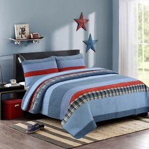 Navy Red Denim Plaid 100%Cotton Quilt Set, Bedspread, Coverlet