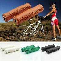 Retro Handlebar Cover Faux Leather Bicycle Handle Grips Cycling PU Leather