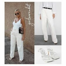 Zara Premium Oversized Palazzo Jeans High Rise Wide Leg Size 10 12 38 Off White