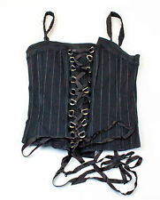 Tripp NYC: Goth Bustier Corset Top - Black with White Pinstripe - XL | USED