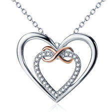 925 Sterling Silver Shiny Crystal CZ Stone Infinity Forever Love Heart Necklace