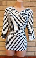 SOON WHITE BLUE STRIPED COWL NECK BUTTONED SIDE FIT LYCRA BLOUSE T SHIRT TOP 14