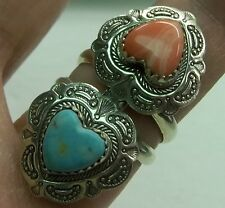 WIDE STERLING SILVER 925 Pink Coral/ Turquoise Southwestern HEART  RING sz 6 QT