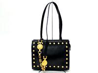 Auth Gianni Versace Black Leather Medusa Tote Shoulder Bag