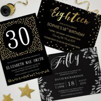 Birthday Invitations Personalised Party Invites • 18th 21st 30th 40th 50th 60th
