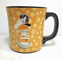 Keith Kimberlin Kitty Cat in Converse Sneaker Coffee Tea Mug Cup Yellow 8 oz