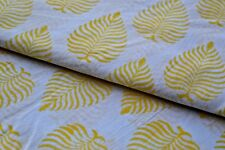 2.5 Yard Indian Running Sewing Cotton Fabric Print Yellow Leaf Decor Hand Block