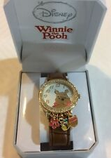 Disney Winnie The Pooh Watch Crystal & Charms Bezel on Brown Leather Band New