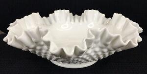 "Vintage Fenton Hobnail White Milk Glass Bowl Large With Ruffled Edge 12"" Wide"