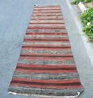 Art Deco Style Runner Rug Turkish Handmade Traditional Ethnic Kilim Rug 3.3x12ft