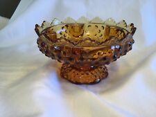 Vintage Fenton Hobnail Footed Candleholder Centerpiece Amber Art Glass