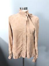 ASOS SZ 2 Skull Print Blouse Nude Peach Tie Neck Goth Button Front Textured