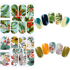 2 Sheets Nail Art Water Decals Tropical Plant Jungle Flower Leaf Stickers Random
