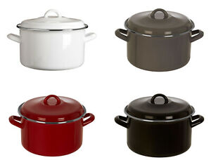 4.7 Litre Casserole Dish Deep Soup Pan Stew Pot Enamel With Lid 2 Handles New